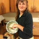 Carly mixing salad