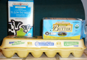 Milk, Butter, eggs cartons